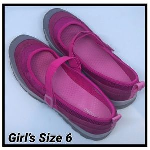 Lands End Girls Pink Mary Jane Shoes (6)